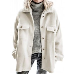 New! Women's Winter White Button Front Jacket